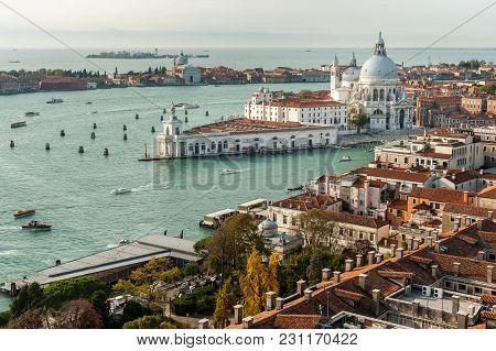 Aerial View Over Venice (italy), Santa Maria Della Salute On A Sunny Day In Autumn