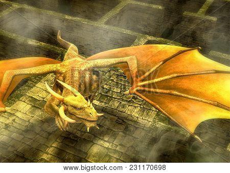 Fantasy Yellow Dragon Flying In A Maze. 3d Illustration.