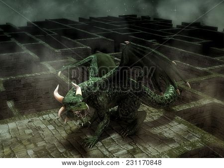 Fantasy Angry Green Dragon In A Maze. 3d Illustration.
