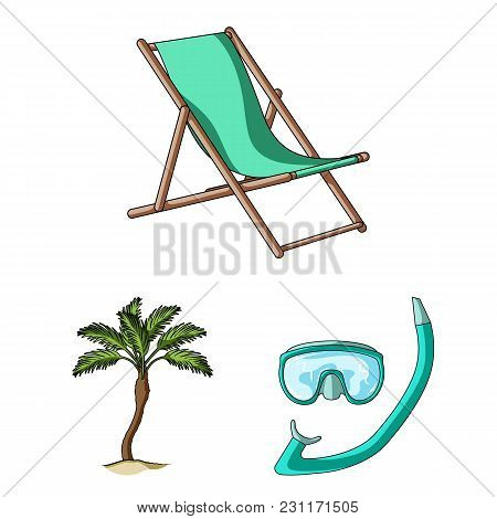 Summer Rest Cartoon Icons In Set Collection For Design. Beach Accessory Vector Symbol Stock  Illustr