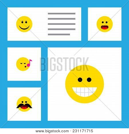 Icon Flat Face Set Of Sing, Smile, Whiskers And Other Vector Objects. Also Includes Face, Emoji, Gri