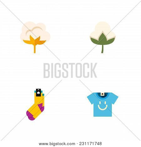 Icon Flat Cotton Set Of Cotton, T-shirt, Bud And Other Vector Objects. Also Includes Flower, Cotton,
