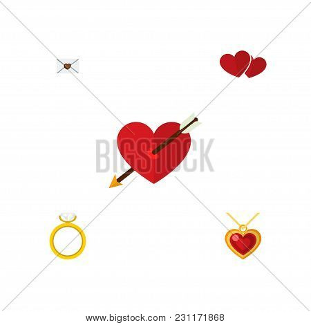 Icon Flat Love Set Of Pendant, Arrow, Love And Other Vector Objects. Also Includes Heart, Love, Wedd