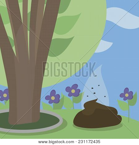 Little Brown Vector Of A Pile Of Excrement Under A Green Bush In A Park Illustration