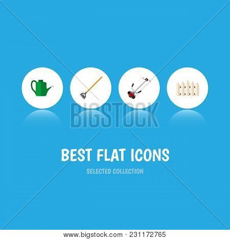 Icon Flat Farm Set Of Fence, Lawn Mower, Watering Can And Other Vector Objects. Also Includes Garden