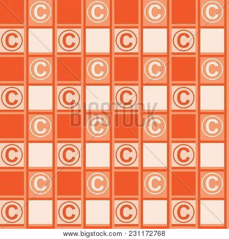 Background With A Copyright Symbol. Orange Background With Ornament Tablecloths