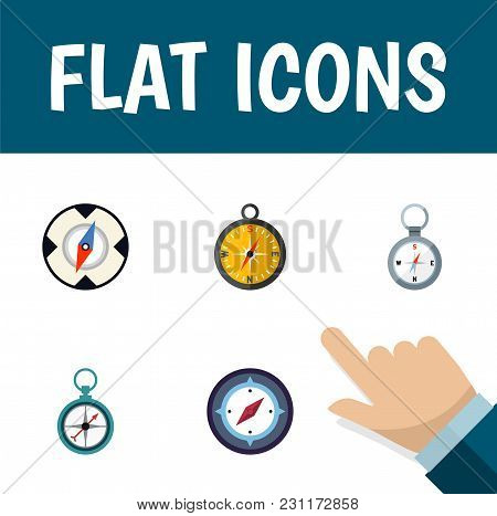 Icon Flat Orientation Set Of Magnet Navigator, Measurement Dividers, Instrument And Other Vector Obj