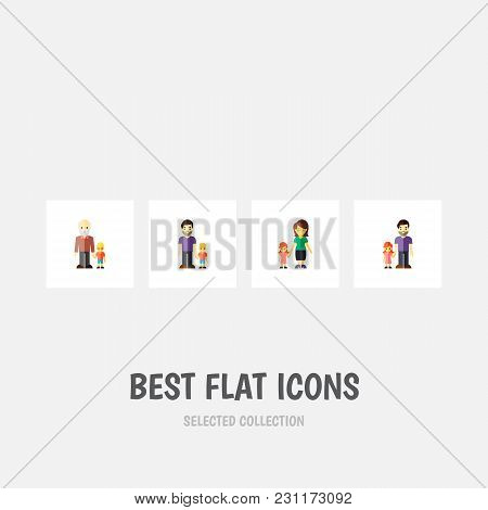 Icon Flat Relatives Set Of Daugther, Father, Gril And Other Vector Objects. Also Includes Family, Fa