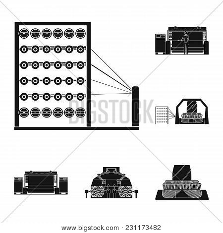 Textile Industry Black Icons In Set Collection For Design.textile Equipment And Fabrics Vector Symbo