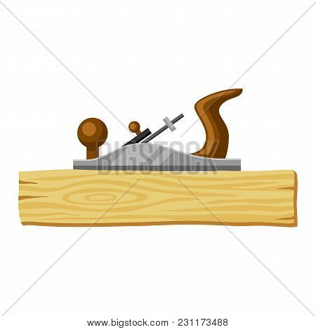 Jointer And Wood Plank. Illustration For Forestry And Lumber Industry.