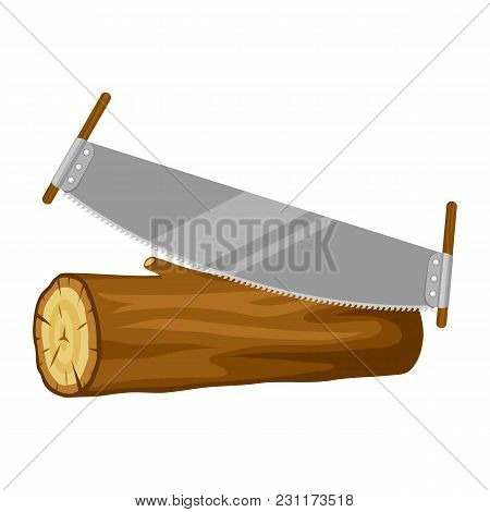 Saw And Wood Log. Illustration For Forestry And Lumber Industry.