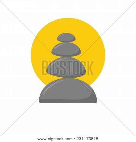 Vector Illustration With Cartoon Isolated Relax Stones Icon On White Background. Ayurveda Zen Relaxa