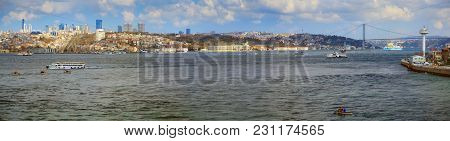 Istanbul, Turkey - March 27, 2012: The Bosporus. European Part Of The City.