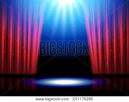 Empty Or Blank Interior Scene With Lights. Theater Or Theatre Illuminated Stage, Opera Entrance With