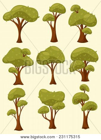 Set Of Isolated Tree Or Wood With Different Types Of Crown And Trunk. Summer Or Spring Shrub Or Bush