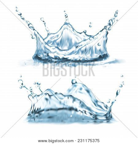 Vector 3d Realistic Set With Water Splashes, Abstract Shapes With Droplets, Splatter Crown, Clean An