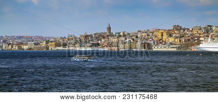 Phistanbul, Turkey - March 27, 2012: View Of City Across The Bosphorus.