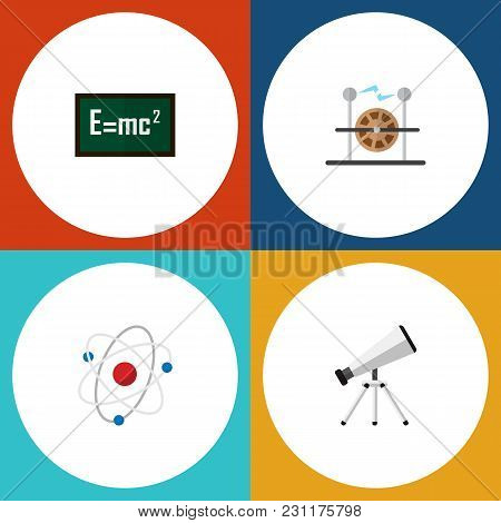 Icon Flat Study Set Of Electricity, Atom, Formula And Other  Objects. Also Includes Theory, Scope, A