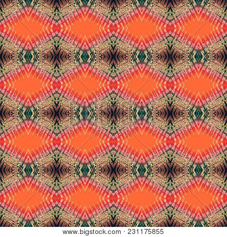 Seamless Pattern In Red, Gold, Black Art Elements. Abstract Kaleidoscope Background. Symmetric Ethni