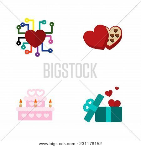 Icon Flat Heart Set Of Present, Wedding Cake, Feeling And Other  Objects. Also Includes Heart, Choco