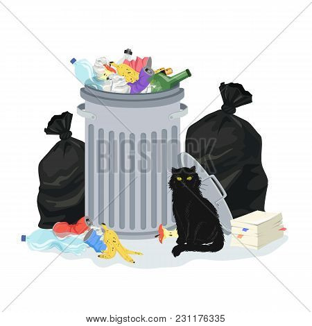 Environment Polution Concept. Garbage Pile With Trash Container And Trash Bags, Full Of Household Wa
