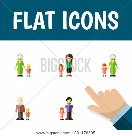 Icon Flat Family Set Of Daugther, Grandpa, Grandson  Objects. Also Includes Family, Grandson, Daugth
