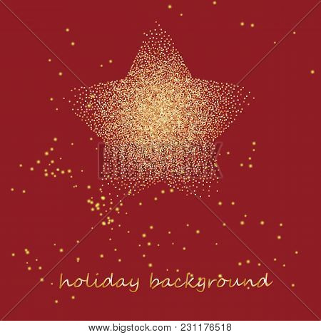 Gold Star On A Festive Red Star Burst Background With Glitter Burst. Vector Illustration.