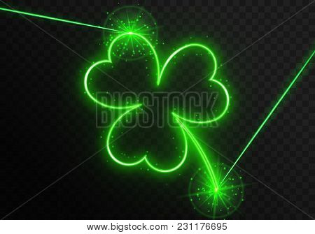 Neon Clover Leaf With Green Laser Rays On A Transparent Background. Element For Design On The Tradit