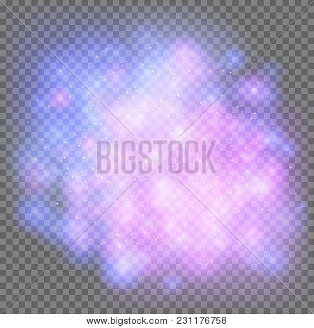 Outer Space Galaxy On A Transparent Background. Bright Blue And Violet Flashes In The Universe. Vect