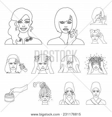 Care Of Hair And Face Outline Icons In Set Collection For Design. Perfumes And Makeup Vector Symbol
