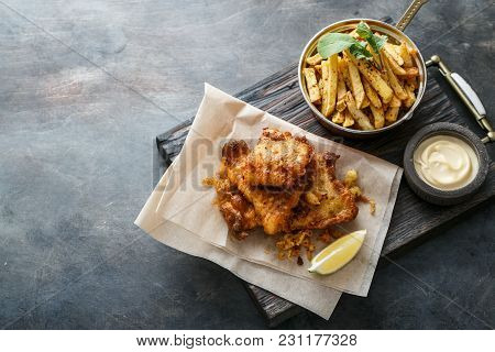British Fish And Chips With Beer, Top View With Copyspace