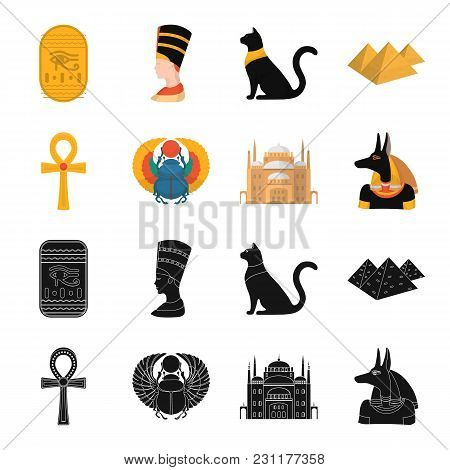Anubis, Ankh, Cairo Citadel, Egyptian Beetle.ancient Egypt Set Collection Icons In Black, Cartoon St