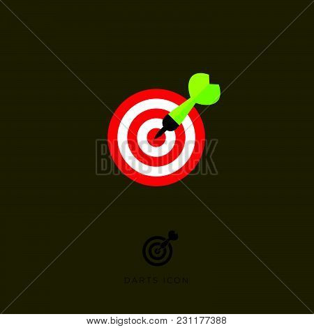 Flat Icon Darts Game. Arrow And A Target On A Brown Background.