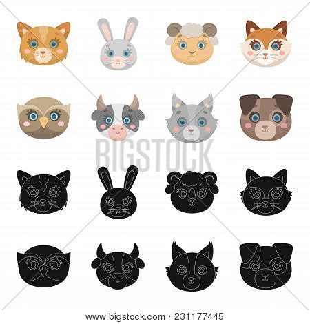 Owl, Cow, Wolf, Dog. Animal's Muzzle Set Collection Icons In Black,cartoon Style Vector Symbol Stock