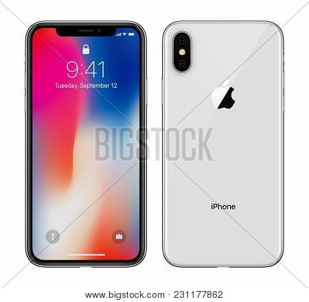 Varna, Bulgaria - January 23, 2018: White Apple Iphone X 10 With Ios 11 Lockscreen Front Side And Ba