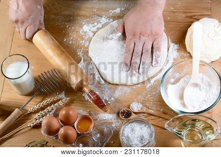 Baker Rolling Dough With Flour Bread, Pizza Or Pie Recipe Ingredients With Hands, Food On Kitchen Ta