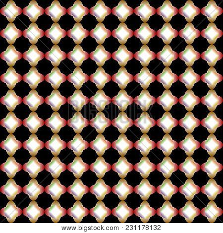 Abstract Colorful Gradient Pattern Of Circle And Ellipse Shapes On Black Background. Vector Illustra