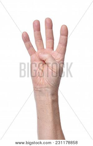 Hand Of Senior Woman Showing Four Fingers Isolated On White Background