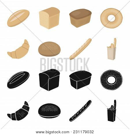 Rye Round Bread, A Croissant, A French Loaf, A Bag Of Bread.bread Set Collection Icons In Black, Car