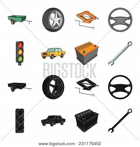 Traffic Light, Old Car, Battery, Wrench, Car Set Collection Icons In Black, Cartoon Style Vector Sym