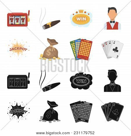 Jack Sweat, A Bag With Money Won, Cards For Playing Bingo, Playing Cards. Casino And Gambling Set Co