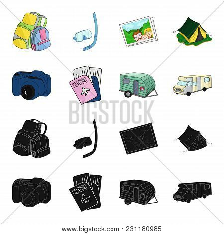 Vacation, Photo, Camera, Passport .family Holiday Set Collection Icons In Black, Cartoon Style Vecto