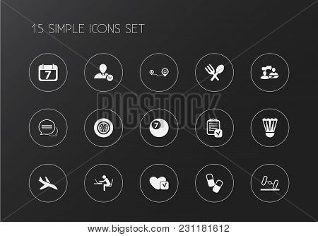 Set Of 15 Editable Complicated Icons. Includes Symbols Such As Calendar, Aircraft, Conversation And