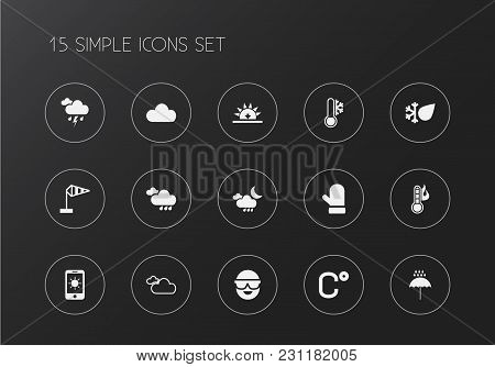 Set Of 15 Editable Climate Icons. Includes Symbols Such As Flood Drop, Phone, Overcast And More. Can
