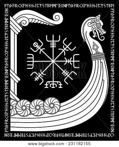 Warship Of The Vikings. Drakkar, Ancient Scandinavian Pattern And Norse Runes, Isolated On Black, Ve