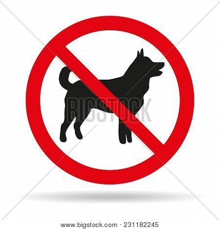 No Dog Sign On White Background. Vector Illustration
