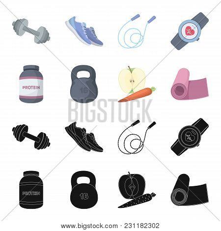 Protein, Vitamins And Other Equipment For Training.gym And Workout Set Collection Icons In Black, Ca