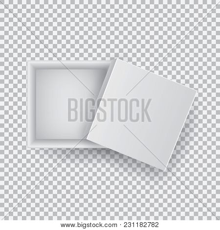 White Open Empty Squares Cardboard Box Isolated On Transparent Background Top View. Mockup Template