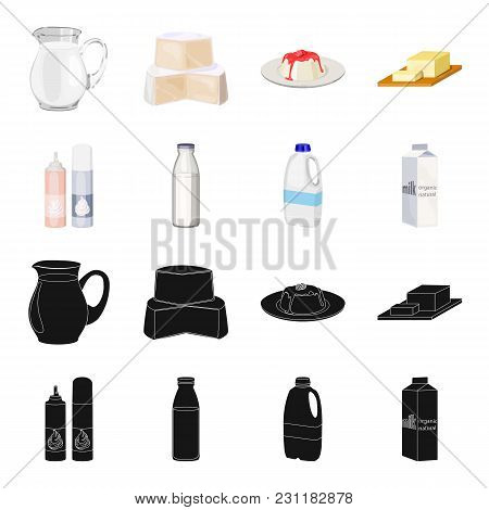 Milk, Calcium, Product, Food .milk Product And Sweet Set Collection Icons In Black, Cartoon Style Ve