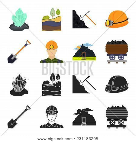 A Shovel, A Miner, An Entrance To A Mine, A Trolley With Coal.mine Set Collection Icons In Black, Ca